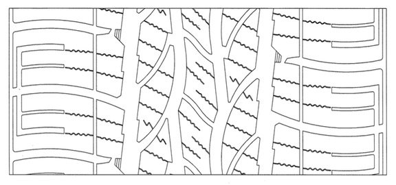 A drawing of the tread profile of the Maxxis tyre