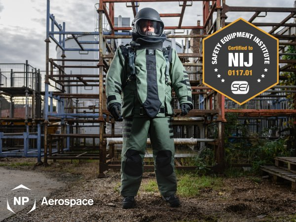 NP Aerospace Achieves Certification to NIJ 0117.01 for New Bomb Disposal Suit